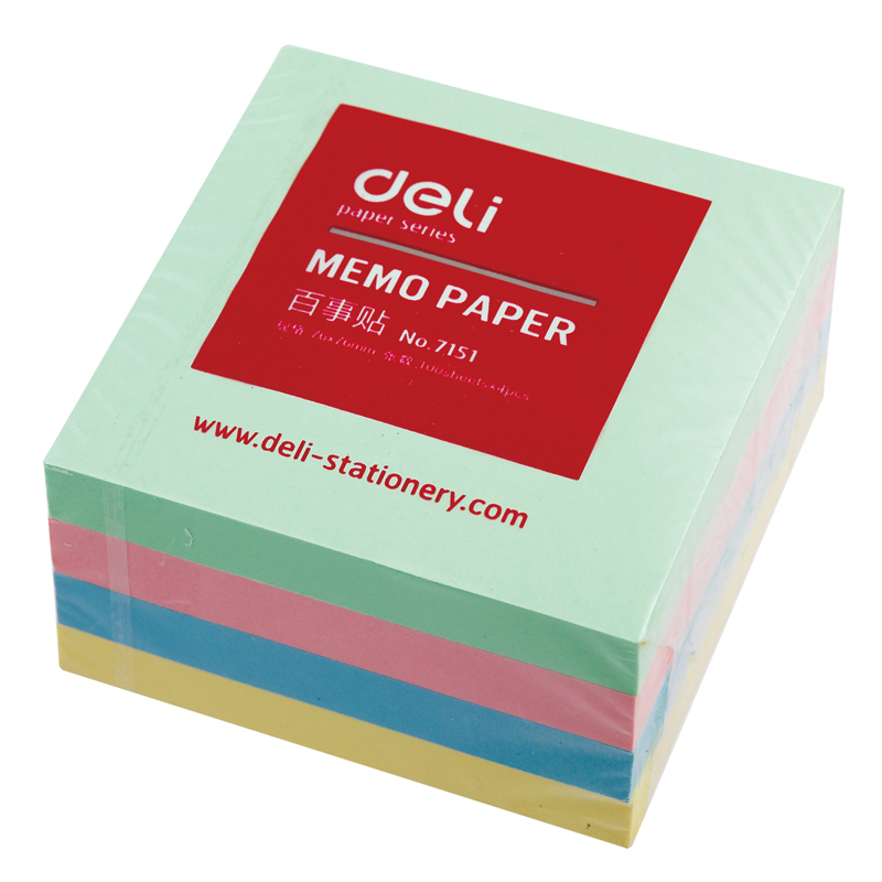 Free shipping deli 7151 memo pads notes on paper convenient multicolour sticky notes 76*76mm message paper stickers memo paper deli 7732 convenient paper sticky note yellow 3 pcs