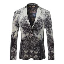 2016 European and American style fashion leisure men blazer Personalized print peacock pattern velvet quality blazer men M-XXXL