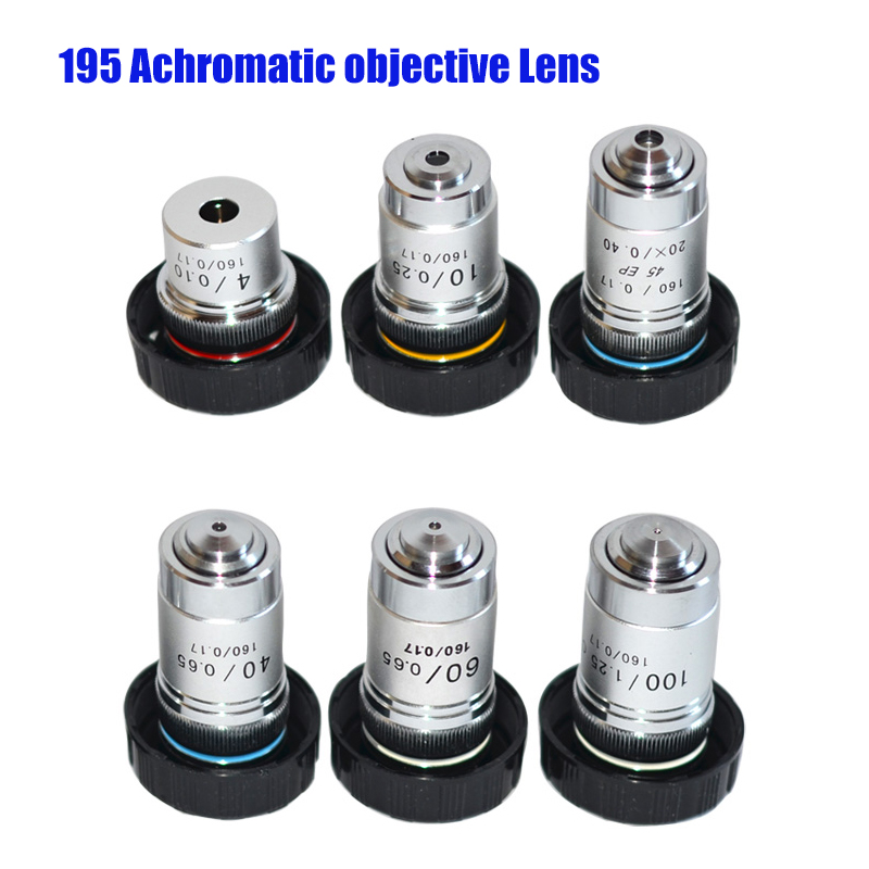 20X Durable Hard 195 All-Steel Achromatic Objective Lens for All Biological Microscopes with C Interface 4X 10X 20X 40X 60X 100X Microscope Object Lens