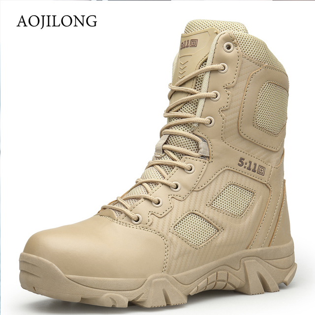 AOJILONG Outdoor Sports Camping Hiking Tactical Men Hiking Climbing Boots Tactical Military Breathable Lightweight Sneakers