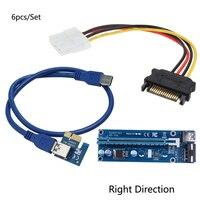 6 sztuk/zestaw 0.6 M Karta PCI Express PCI-E 1X do 16X Riser Extender z SATA do USB 3.0 Kabel 4 Pin IDE Zasilanie z prawej strony