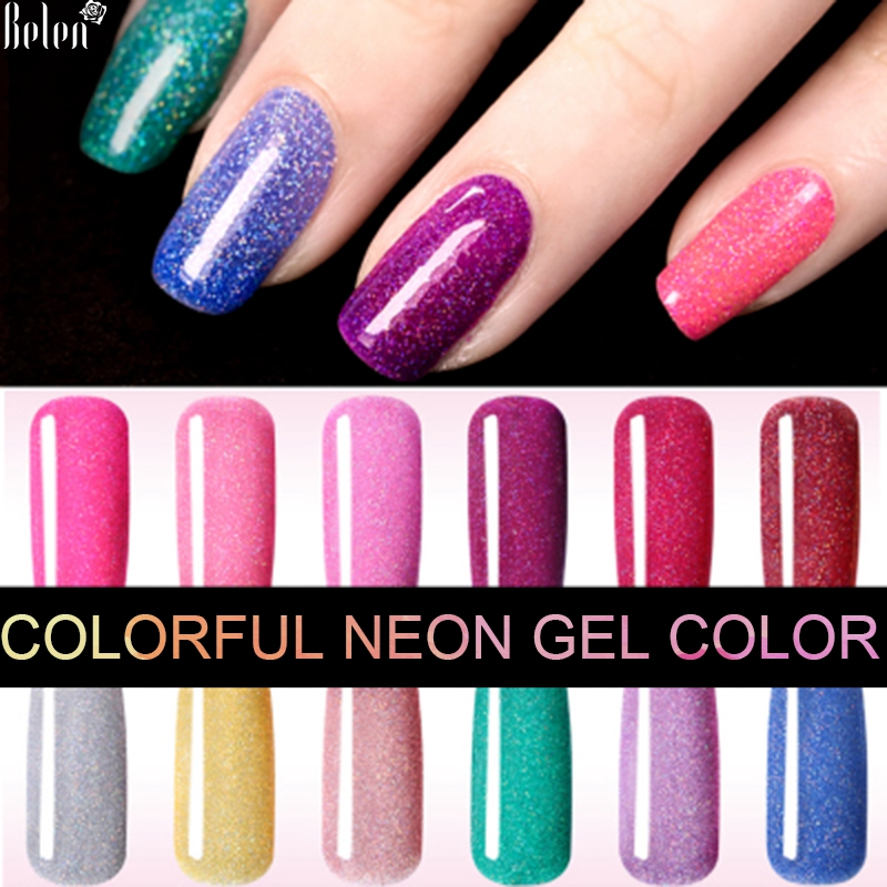 belen colorful neon gel polish bling gel lak vernis semi permanent soak off uv color gel nail. Black Bedroom Furniture Sets. Home Design Ideas