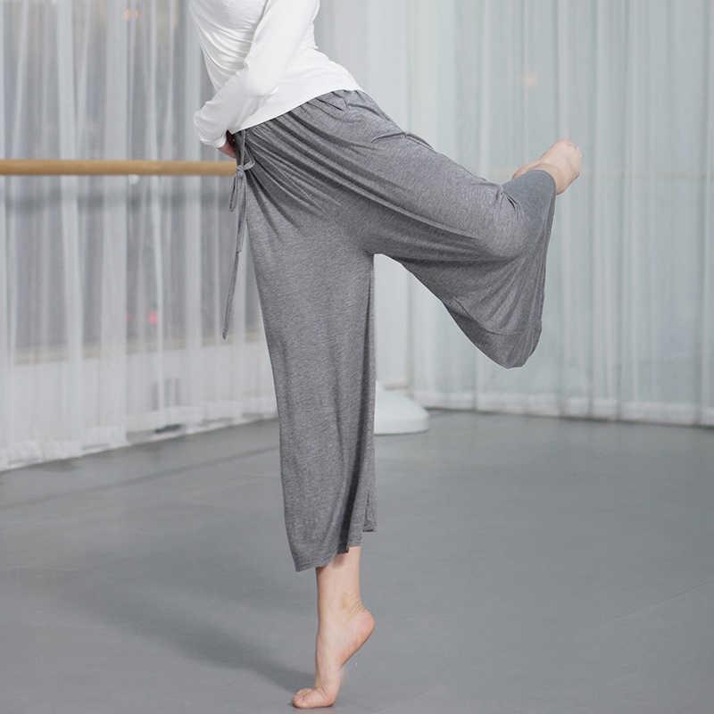 Dans pantolon kadın lirik pantolon bale kapriler dans sınıfı pantolon lirik dans giyim geniş kapriler pantolon uygulama dans giyim