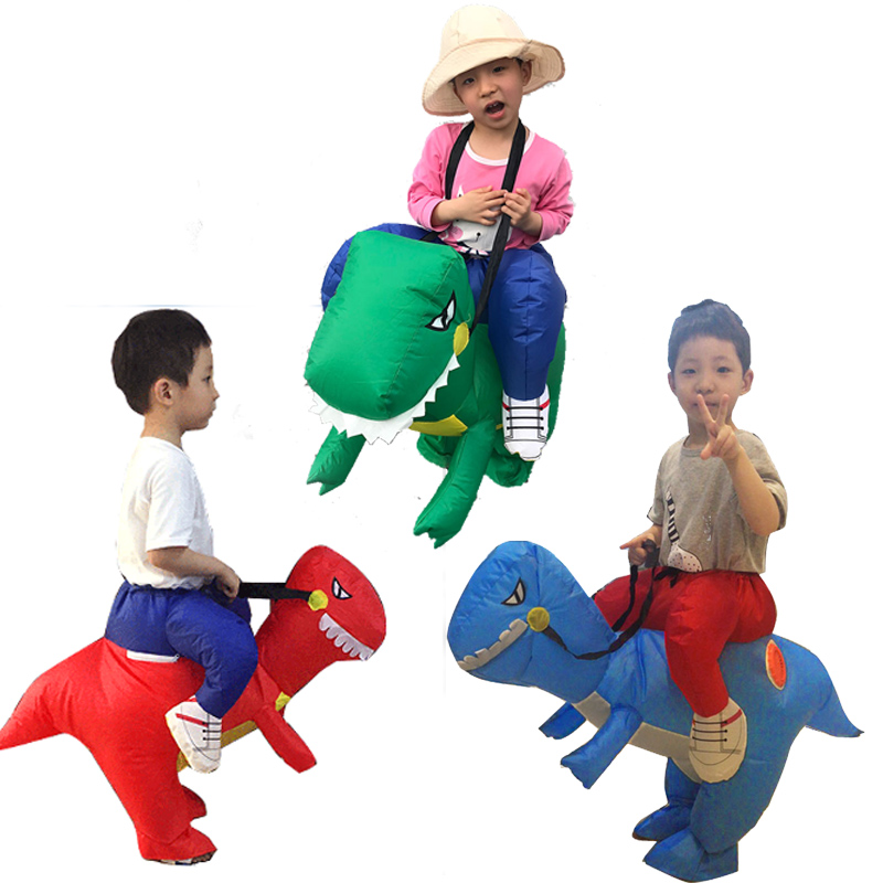 3 Color Inflatable Dinosaur Cosplay Children Costume Green Red Blue Pants Halloween Costumes For Kids 80 to 120 cm