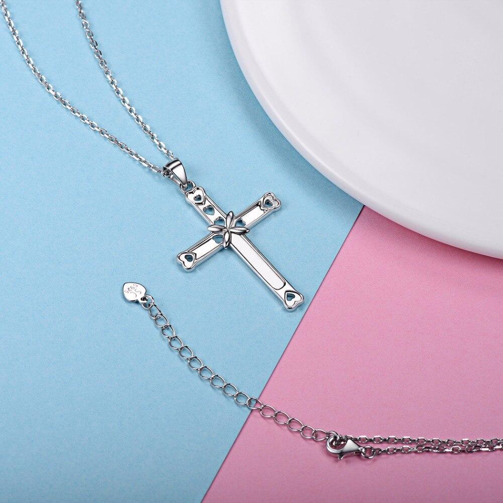 37b41bdfd9c4 U7 925 Cruz colgante de plata collar Dainty corazón mujeres ...