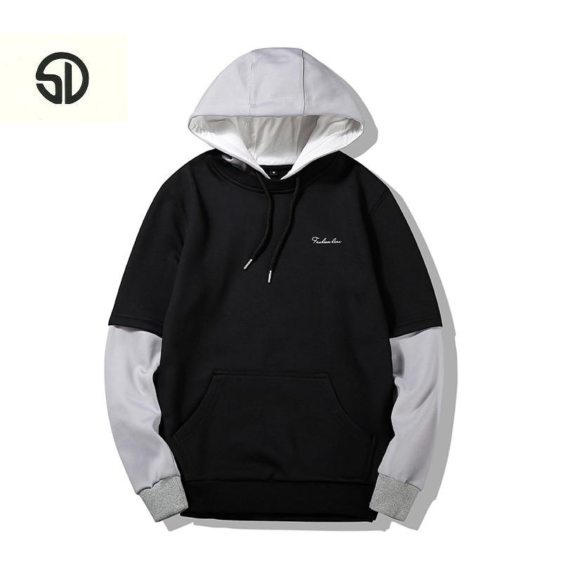 Hoodies Men Sweatshirts Fashion Hip Hop Male Long Sleeve Solid Hooded Sweatshirt Men Pullover Hoodie Tracksuit Sweat Streetwear