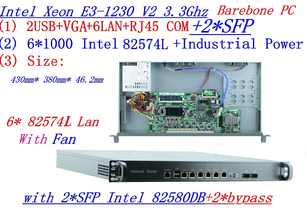 Industrial 1U soft routing Quad Core Xeon <font><b>E3</b></font>-<font><b>1230</b></font> <font><b>V2</b></font> 3.3Ghz Barebone with 8 Ports 6*1000M 82574L Gigabit Nics 2* intel SFP image