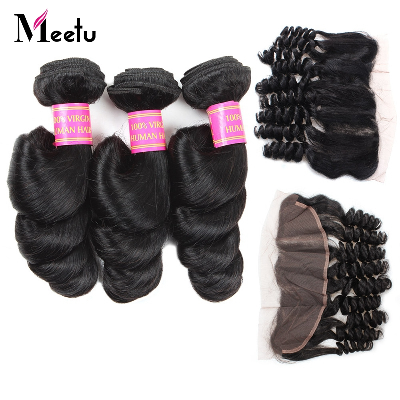 Malaysian Loose Wave Bundles With Closure 3 Bundle Human Hair Weave Non Remy Hair Ear to Ear Lace Frontal Closure With Bundles