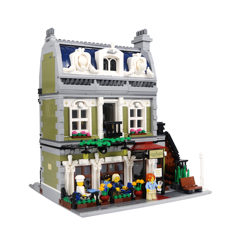 Lepin 15010 Expert City Street Parisian Restaurant Model Building Kits Blocks Funny Children Toys Compatible 10243 dhl new 2418pcs lepin 15010 city street parisian restaurant model building blocks bricks intelligence toys compatible with 10243