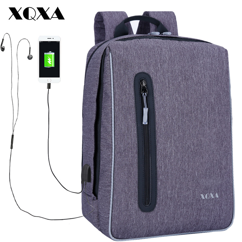 XQXA USB Charging 15.6 17 inch Laptop Backpack Women Men Business Dayback Men's Travel Bag Backpacks School Bags for Girls kingsons external charging usb function school backpack anti theft boy s girl s dayback women travel bag 15 6 inch 2017 new