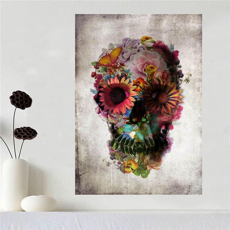 Fabric Wall Posters : Custom canvas poster art sugar skull cloth fabric