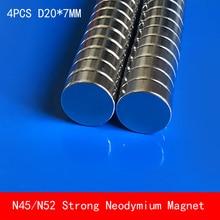 4PCS N45 N52 round magnet D20*7mm Super powerful rare earth neodymium magnets N52 diameter 20X7mm permanent magnet strong powerful n52 neodymium rare round 50x30mm earth super n52 search