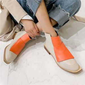 Image 5 - FEDONAS Chất Lượng Hỗn Hợp Màu Sắc Da Thật Chính Hãng Da Nữ Cổ Chân Giày Cổ Điển Mũi Tròn Giày Chelsea Boot Quàng Nam Giày Người Phụ Nữ Cổ Ngắn Tăng