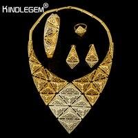 Kindlegem Designer Fine Jewelry Exquisite Silver Gold Color 3D Triangle Big Statement Necklace Earrings Bracelet Ring Sets