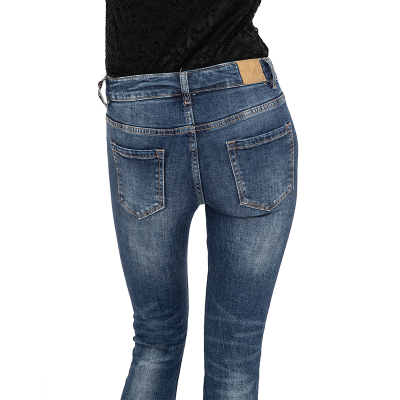 My Will Jeans Mid-Rise, High-Elastic Jeans, Shredded Patch With Rivets, Denim Fashion Made In China