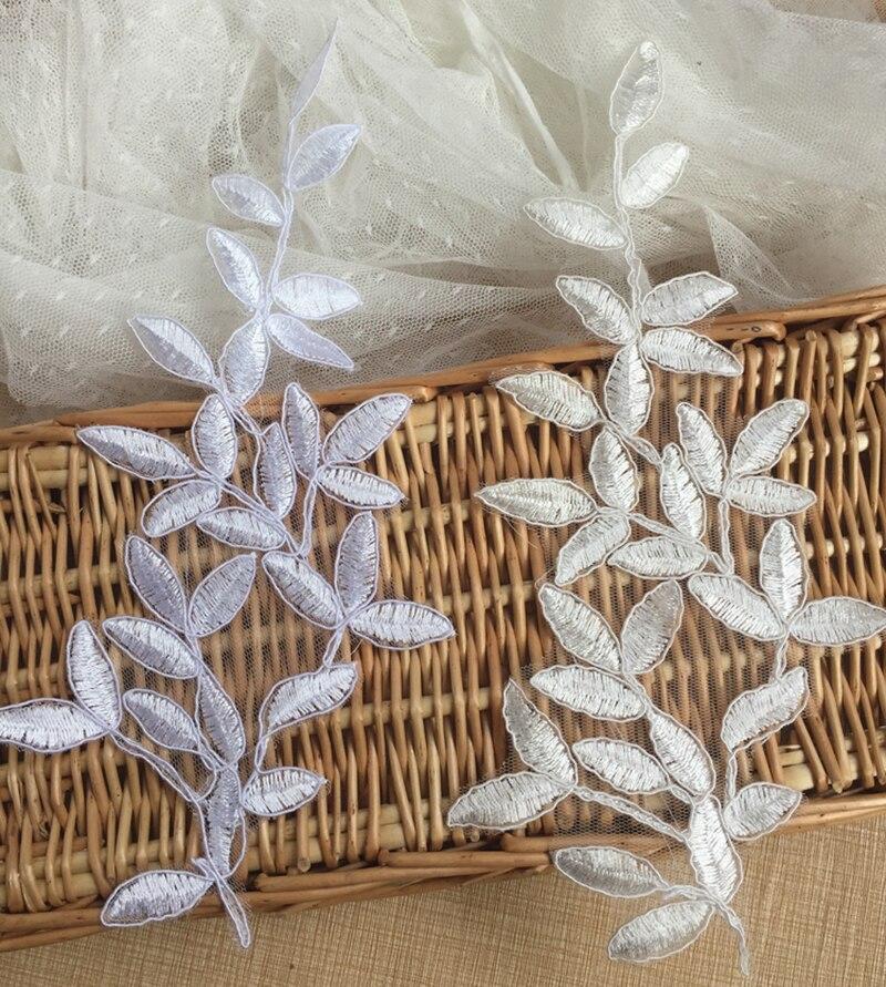 10 kusů Bílé slonoviny krajka Applique francouzské krajky Fabric dekorace pro oděvní doplňky Šit na látku Costura řemesla