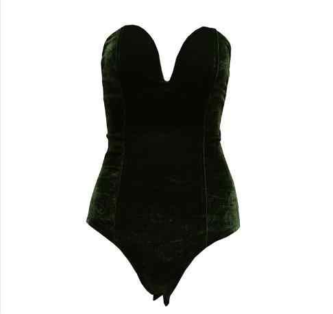 Осенне-зимние пикантные бархатные боди для женщин, с перекрестной спинкой, без бретелек, с v-образным вырезом, боди, feminino, черный бодикон, комбинезон RQ301