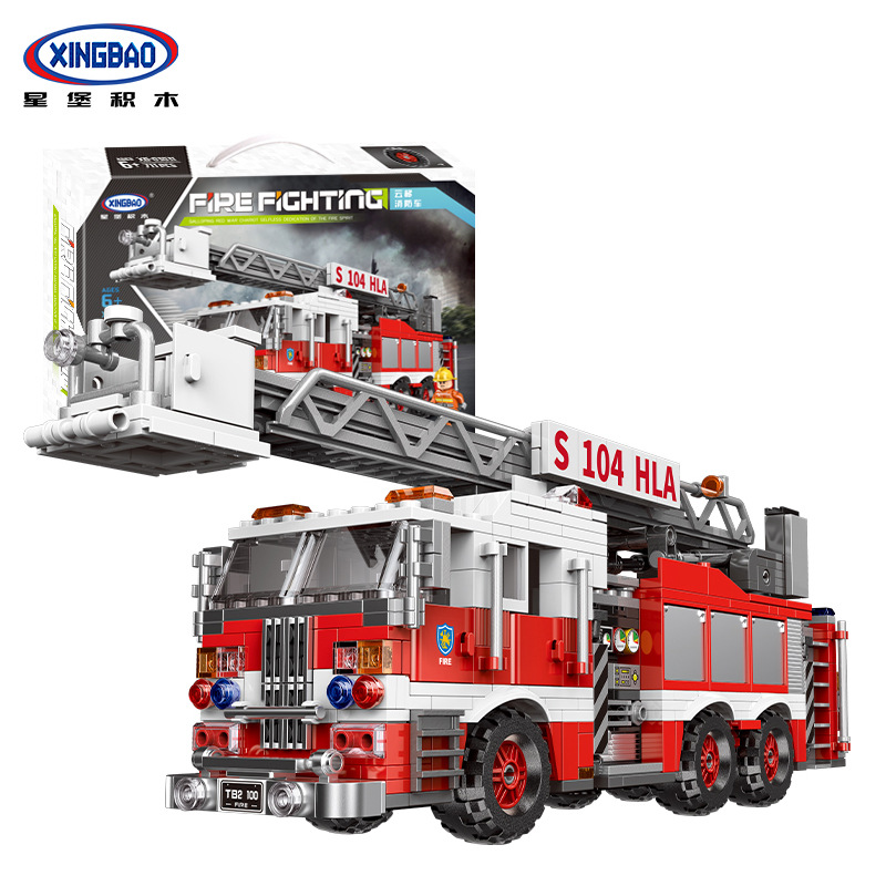 New XINGBAO 03031 The Aerial Ladder Fire Truck Set City Series Building Blocks Bricks Toys Car