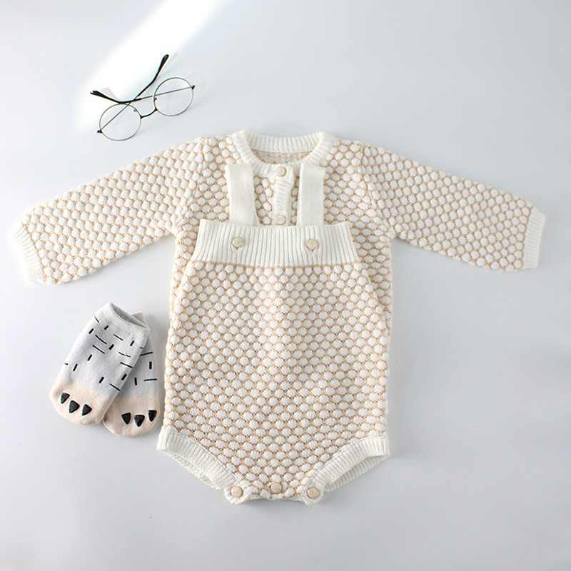 6a6d4bd9f Baby Girls Clothes Autumn Baby knitted Romper Set Infant Newborn Baby Girl  Cardigan Boys Sweater Cotton