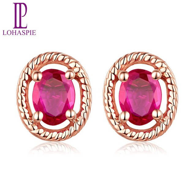 LP 5.7x4.7mm Stud Earrings 0.14ct Natural Ruby Solid 14K Rose Gold Gemstone Fine Jewelry For Women's Gift  NEW