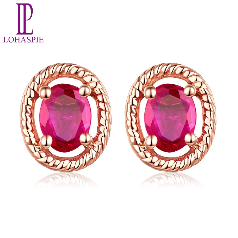 LP5.7x4.7mm boucles doreilles à tige 0.14ct Naturel Ruby Solide 14 K Or Rose Pierres Précieuses bijoux fins Pour Femmes de Cadeau NOUVEAU