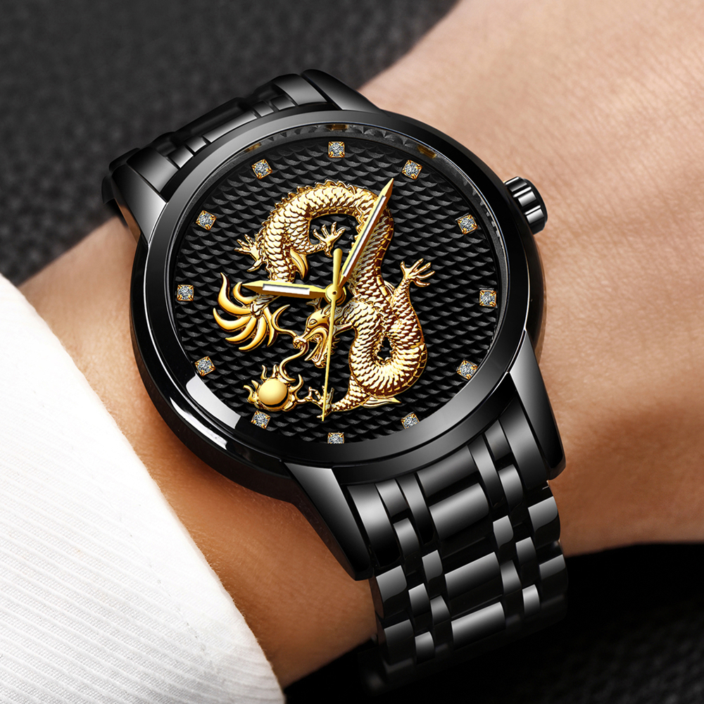 2018 Men Watches Top Brand LIGE Luxury Gold Dragon Sculpture Quartz Watch Men Full Steel Waterproof Wristwatch relogio masculino недорго, оригинальная цена