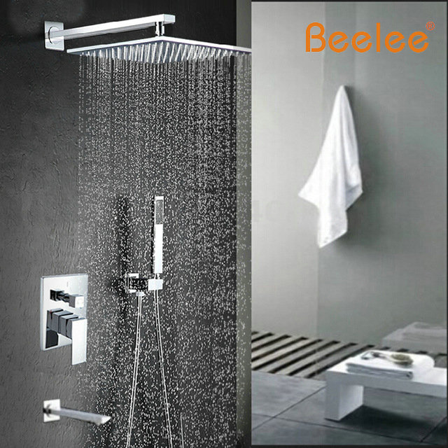 Wholesale And Retail Promotion NEW Modern 12 Rain Shower Faucet Bathroom Tub Spout Shower Arm Valve Mixer Tap hot sale wholesale and retail promotion new modern brushed nickel 12 rain shower head ultrathin shower head replacement