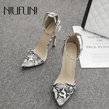 цены New Sexy Snake Pattern Pointed High Heels Sandals Summer Wild Stiletto Patent Leather Women's Shoes Fine High Heels Banquet