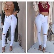 f8dd65ef66d9aa Nuevo caliente a alta cintura mujer lápiz Pantalones de las mujeres de la  moda Pantalones de agujero blanco jeans stretch Slim .
