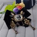 Alta Qualidade Do Vintage grande Limpar Áustria Cristais Imitação Pérola Grande Arco Acessórios Do Casamento Broche crachá pin fivela lenço de seda