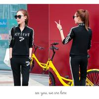 Women S Two Piece Set Tracksuits Top And Pants Striped Long Sleeve Sporting Sets Autumn Black