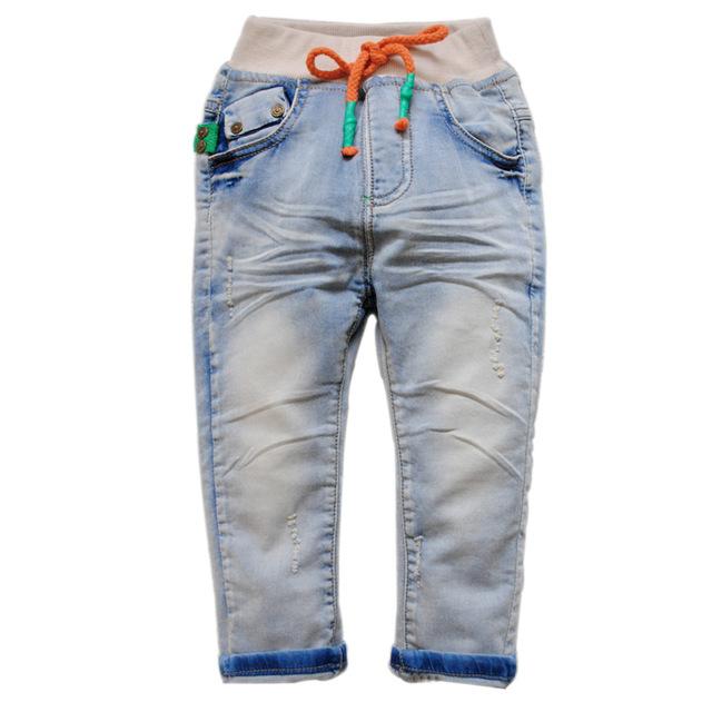 6133 pantalones vaqueros del bebé del muchacho pantalones niñas pantalones casuales primavera u otoño niños pantalones de mezclilla suave de lavado no se desvanecen sólido