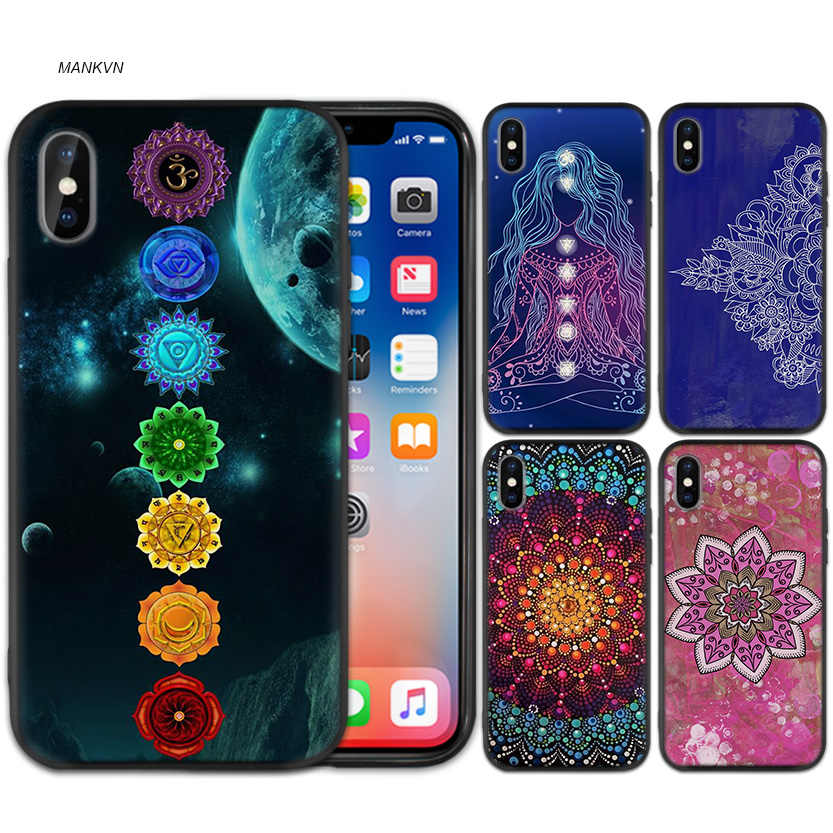 Case Cover for iPhone XS Max X XR 6 6s 7 8 Plus 5 SE 5S Scrub Silicone Phone Cases Soft mandala chakra yoga