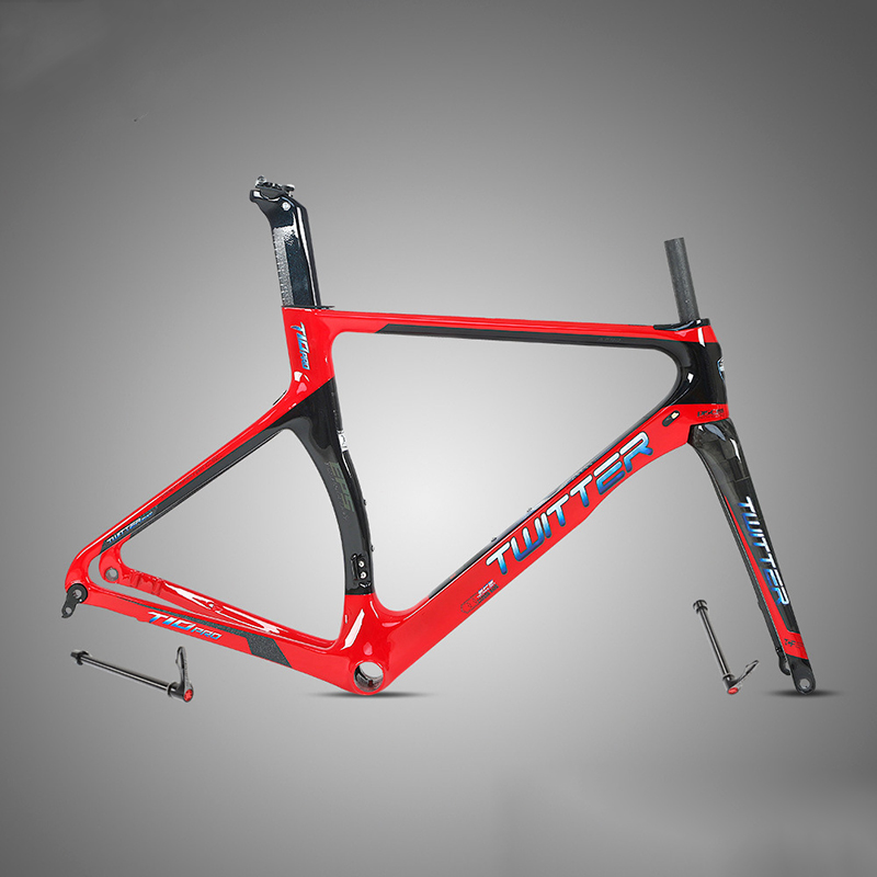Colorful 18K Carbon Road Bike Frame 700C Disc Brake Carbon Fibre Bicycle Frame With Carbon Bicycle Fork Seatpost BB92