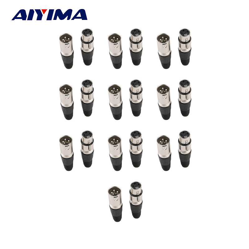 Aiyima 10pair XLR Male Female 3 Pin 18mm Mic Microphone Audio Cable Plug Jack Connector