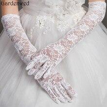 Gardenwed mujeres nupcial guantes altura de codo dedo completo encaje accesorios de boda