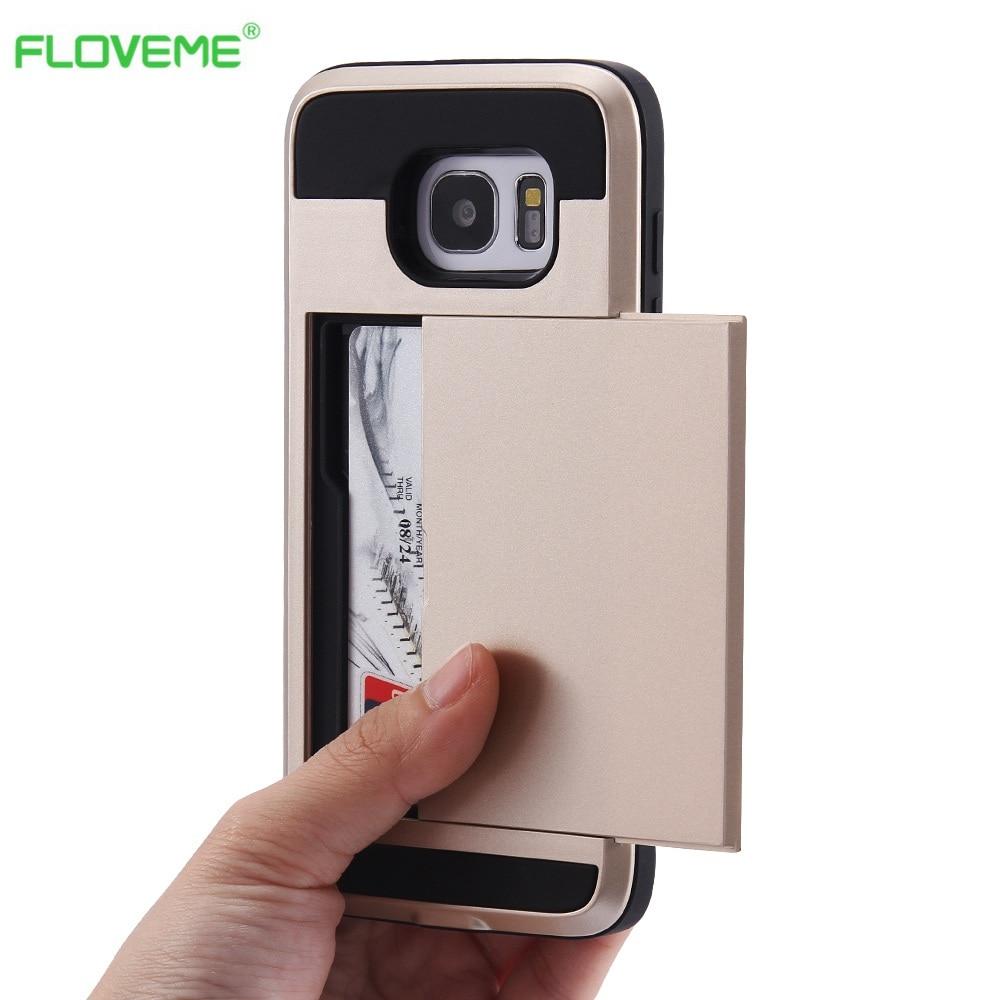 Floveme For Iphone 6 6s Hybrid Case Slide Card Holder Hard