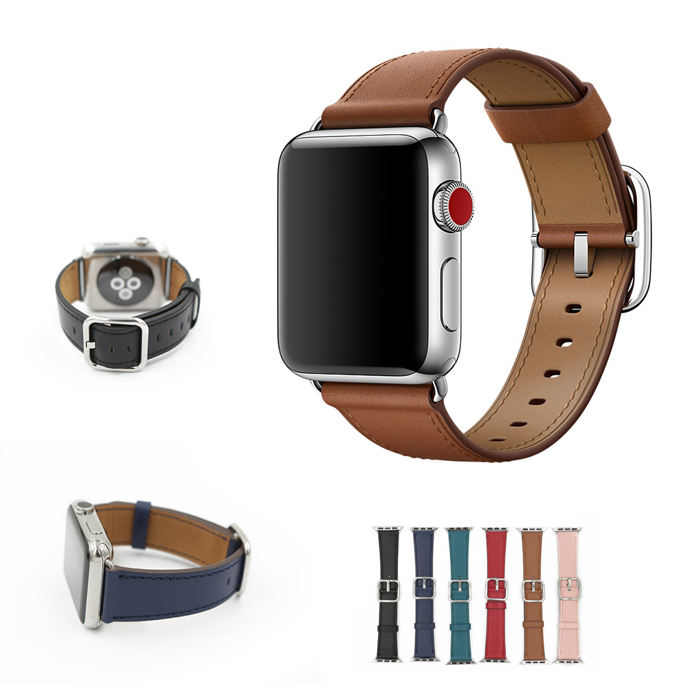 HOKE Classic Buckle Band for apple watch series 3 2 1 strap iwatch calf leather with square buckle modern design