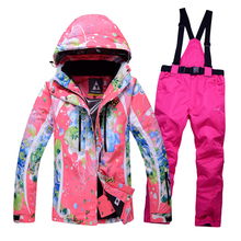 Free shipping ski suit Woman's Breathable Waterproof Ski Jacket womens Snow Sets Winter ski suit Thicken Warm Snowboard Jacket