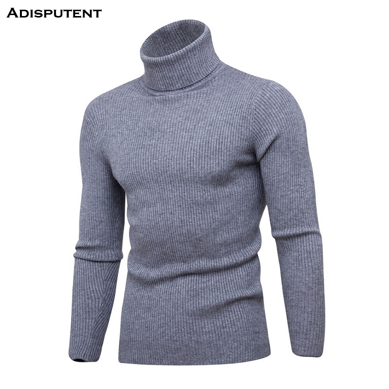 Adisputent  New Autumn Winter Men Solid Pullover Outerwear Male Knitted Long Sleeve High Collar Slim Fit Knitted Sweater Tops