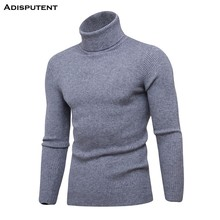 Adisputent New Autumn Winter Men Solid Pullover Outerwear Male Knitted Long Sleeve High Collar Slim Fit Knitted Sweater Tops(China)