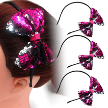 1PC Girls Glitter Sequin Big Bowknot Hairbands Women Headband Plastic Hair Hoop Bands for Accessories Headwear