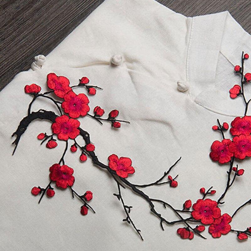 Plum Blossom Kwiat Aplikacja Haftowana Naszywka Na Ubrania Naklejka