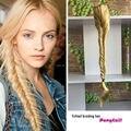 Термостойкие женщины толстые длинные парики золотой блондинка синтетических косу рыбий хвост коготь клип в хвост и шнурок хвостики