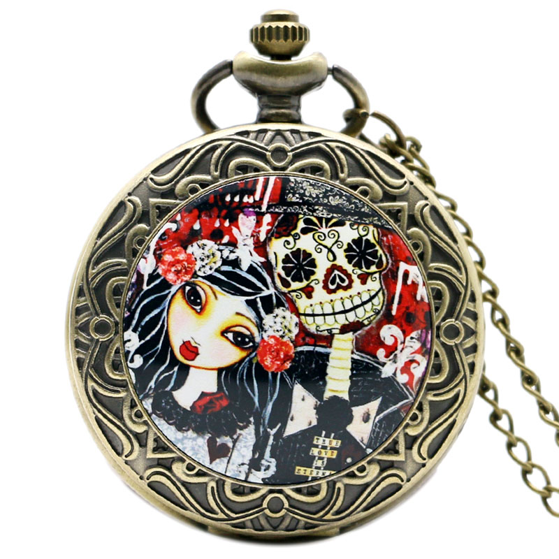Corpse Bride Movie Vintage Pocket Watch Reloj Mujer Skull Quartz Extension Fobs Watches Men Gifts Colar Masculino for Women