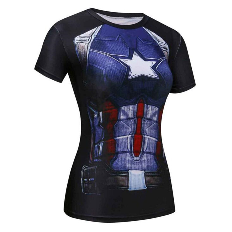 ND11 Fitness Captain America Tight Summer T Shirt Women Tops Short Sleeve O-neck Compression Shirt Tee Shirt Femme Camisetas Mujer
