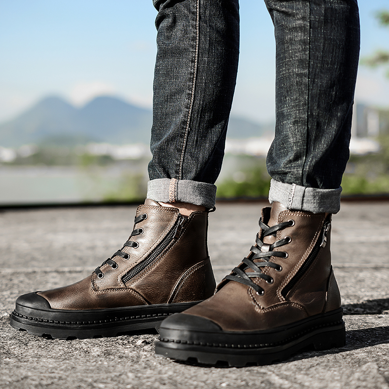 Men Boots Side-Zipper Shoes Rubber Outsole Winter Men's Casual Warm And Ankle HH-898
