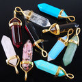 Free shipping Natural Hexagonal Point Chakra Pendulum Bead Stone Gold plated Pendant Charm for Necklace DIY Jewelry 1pcs TBN101