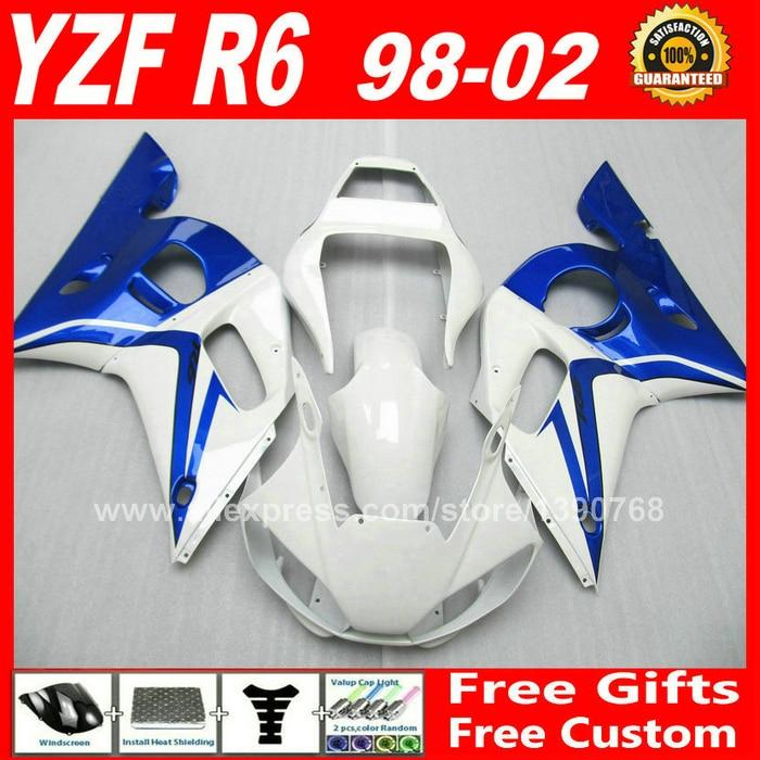 Fairing kit for YAMAHA YZF R6 98 99 00 01 02  blue white bodywork 1998 1999 2000 2001 2002  fairings kits Y6T8