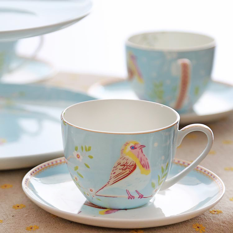 European Style Bird Coffee Cup England Bone China Red Tea ...